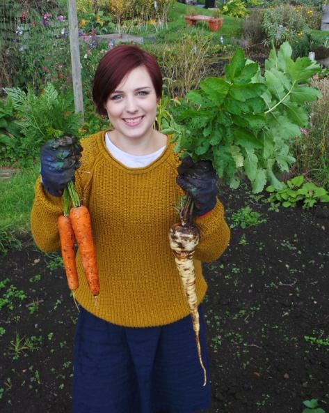 Lottie Land girl & her veg