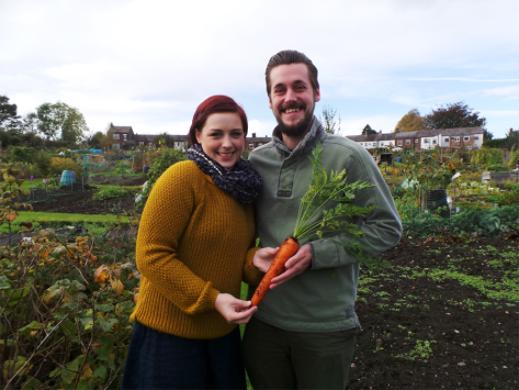 Mr & Mrs B with their prize winning carrot