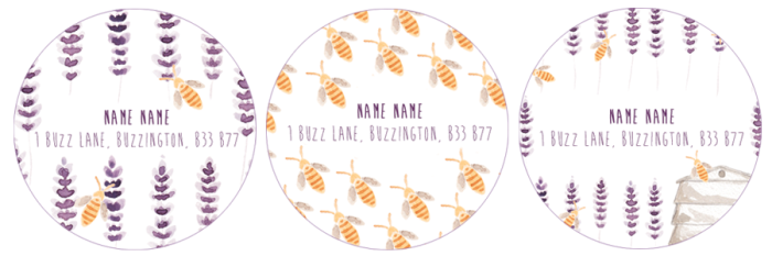 Lavender & Bees Address Stickers