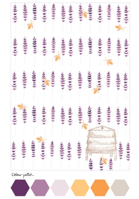 Notelet Lavender & Bees Back