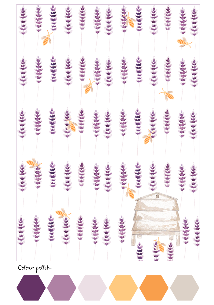 Notelet Lavender & Bees Back
